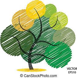 bazgrać, kolor, symbol, drzewo