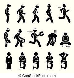 bazický, falšovat, pohyby, a, actions.