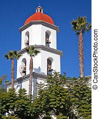 bazylika, san, capistrano, huan, wieża, misja, kalifornia,...