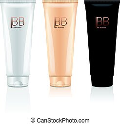 B.B. cream in different color of realistic tubes. Vector mockup of packages of makeup foundation