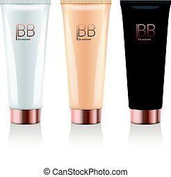 B.B. cream in different color of realistic tubes with gold cap. Vector mockup of packages of makeup foundation