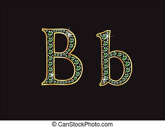 Bb in Emerald Jeweled Font