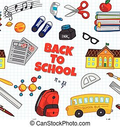 BBack to school seamless background with school supplies icon