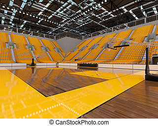 Bbeautiful sports arena for basketball with yellow seats and...