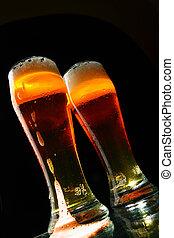 bbeer, mit, bierschaum