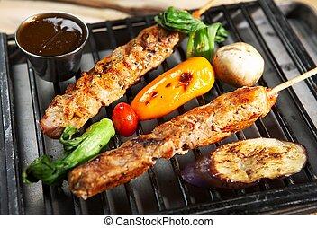 bbq, -, 烤架, 食物