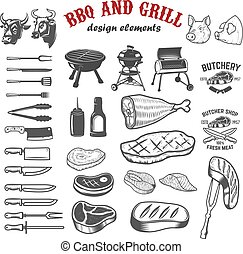 BBQ and grill design elements for logo, label, emblem, sign. Vec