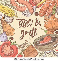BBQ and Grill Hand Drawn Background with Steak, Fish and Vegetables. Picnic Party. Vector illustration