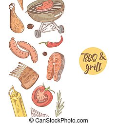 BBQ and Grill Hand Drawn Design with Meat, Sausage and Vegetables. Picnic Party. Vector illustration