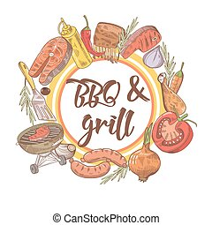 BBQ and Grill Hand Drawn Design with Steak, Fish and Sauce. Picnic Party. Vector illustration