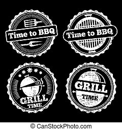 BBQ and grill time grunge labels design