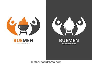 Bbq and people logo combination. Unique barbecue and team logotype design template.