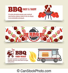 BBQ and steak horizontal banners template. Meat, barbecue and a food truck on a white background