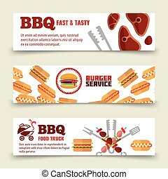 BBQ and steak horizontal banners template. Meat, burgers and barbecue icons