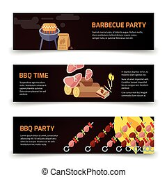 BBQ and steak horizontal banners template. Meat, coal, firewood and barbecue on a black background