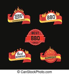 BBQ badge icons set