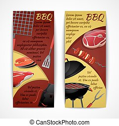 Bbq banners set - Bbq party fresh hot meat grill menu...
