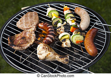 BBQ - Barbecue a hot summer evening, Grilling