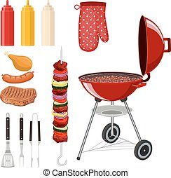 Bbq barbecue elements set