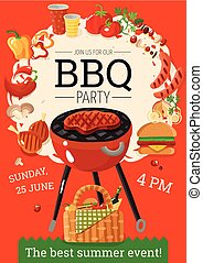 BBQ Barbecue Party Announcement Poster
