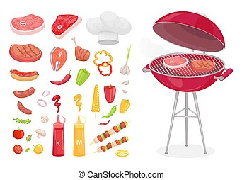 BBQ Barbecue Set of Icons Vector Illustration