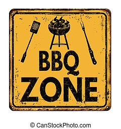 BBQ Barbecue zone vintage rusty metal sign on a white...
