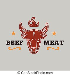 BBQ Beef Logo Meat Vector Image