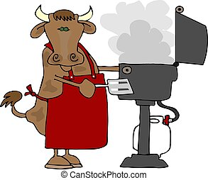 This illustration depicts a cow wearing an apron and cooking on a propane barbecue.