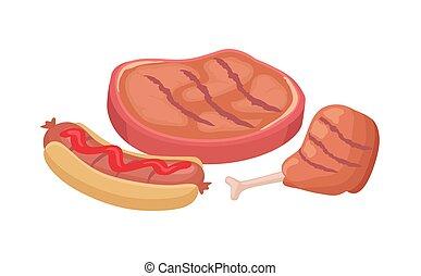BBQ Beefsteak and Chicken Vector Illustration - BBQ roasted ...