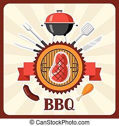 Bbq card with grill objects and icons