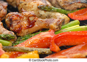BBQ chicken and vegetables on a grill - BBQ chicken and ...