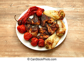 BBQ chicken wings with vegetables