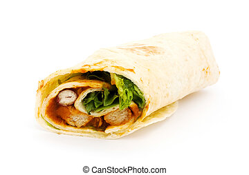 BBQ chicken wrap over white - BBQ chicken wrap isolated on...