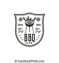 BBQ club label in monochrome style. Invitation to grill, barbeque event. Isolated on white background. Vintage black monochrome design. Stock Vector silhouette