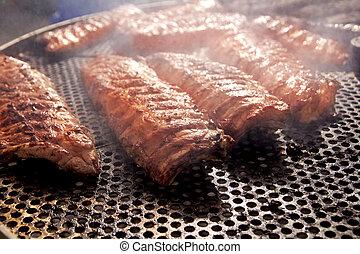 bbq, costole, carne cotta, fumo, nebbia, barbecue