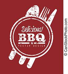 bbq design over red  background vector illustration