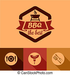 Illustration of BBQ Design Elements in Flat Design Style.