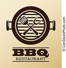 bbq design over pink  background vector illustration