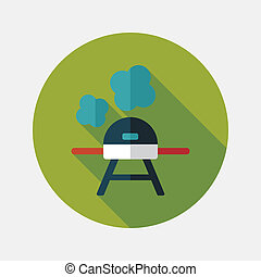 bbq flat icon with long shadow, eps10
