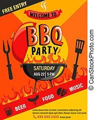 bbq, flyer., festa, invito
