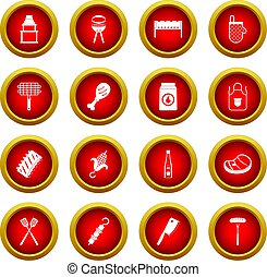 BBQ food icon red circle set isolated on white background