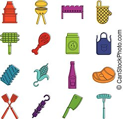 BBQ food icons doodle set