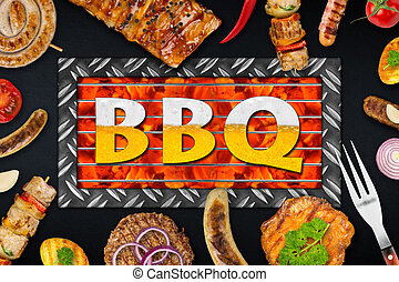 bbq food - bbq background with grilles food