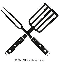 BBQ fork spatula cross silhouette