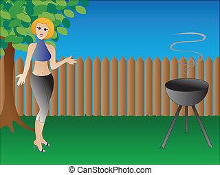 Stylish woman hosts BBQ in her backyard.
