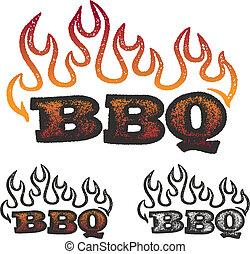 bbq, gráficos, com, chamas