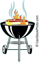 BBQ grill - A Weber style Bar-B-Que grill with a big steak...