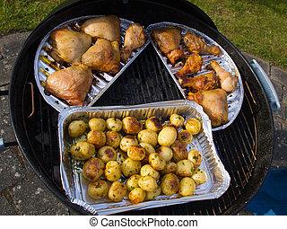 bbq, grill, chicken, kwarten