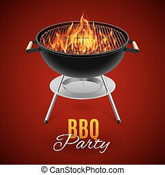 BBQ grill - BBQ party banner grill with fire isolated on red