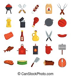 Bbq grill colored decorative icons set with barbeque